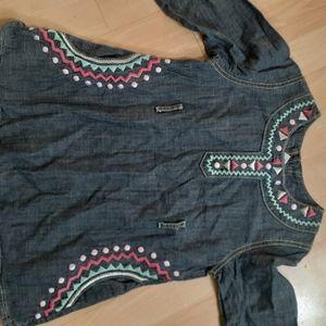 Gymboree aztec boho pastel chambray dress size 8